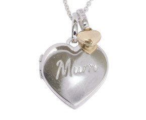 Sterling Silver Mum Heart Locket & Gold Charm