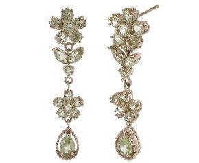 Pre-Owned 9ct Gold Peridot Drop Earrings