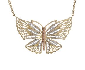 Pre-Worn 9ct Rose, White & Yellow Gold Butterfly Necklace