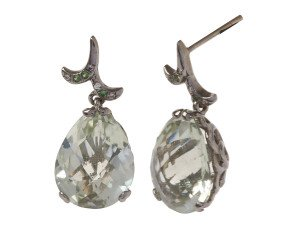 18ct Gold & Green Amethyst Whispering Small Tear Drop Earrings