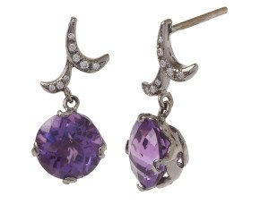 18ct Gold & Amethyst Whispering Round Drop Earrings