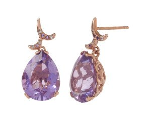 18ct Rose Gold & Amethyst Whispering Small Tear Drop Earrings