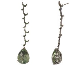 18ct Gold & Green Amethyst Long Whispering Tear Drop Earrings