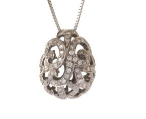 18ct White Gold & Diamond Whispering Small Hollow Tear Pendant