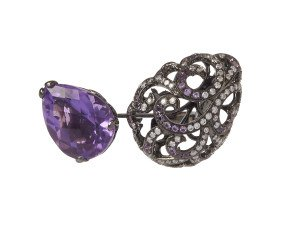 18ct Gold Whispering Amethyst Pear & Hollow Tear Ring