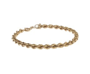 Pre-Owned 9ct Gold Rope Chain Bracelet