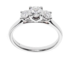Classic Collection Platinum 0.50ct Diamond Trilogy Ring