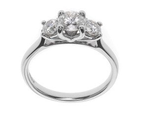 Classic Collection Platinum 1.00ct Diamond Trilogy Ring