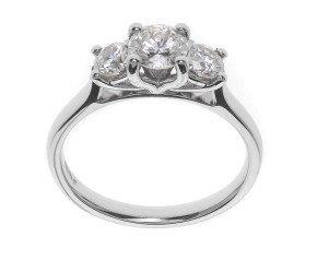 Classic Collection Platinum 1.00ct Diamond Trilogy Ring
