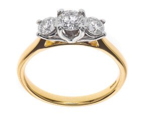 Classic Collection 18ct Gold 0.50ct Diamond Trilogy Ring