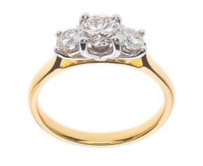 Classic Collection 18ct Gold 1.00ct Diamond Trilogy Ring