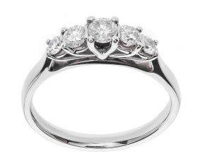 Classic Collection Platinum 0.50ct Five Stone Diamond Ring