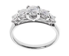 Classic Collection Platinum 1.00ct Five Stone Diamond Ring