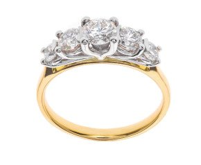 Classic Collection 18ct Gold 1.00ct Five Stone Diamond Ring