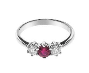 18ct White Gold Ruby & Diamond Trilogy Ring