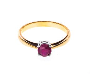 18ct Gold Solitaire Ruby Ring