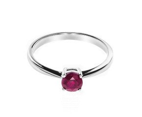 18ct White Gold Solitaire Ruby Ring