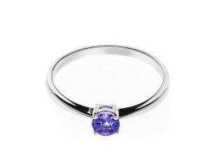 18ct White Gold Solitaire Tanzanite Ring