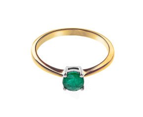 18ct Gold Solitaire Emerald Ring