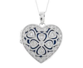 Silver & Cubic Zirconia Heart Locket