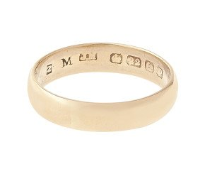 Antique 1860's 22ct Gold D-Shaped 4.70mm Wedding Band