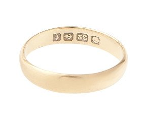 Antique 1918 22ct Gold D Shaped 3.40mm Wedding Band