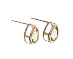 Pre-Owned Peridot Solitaire Stud Earrings