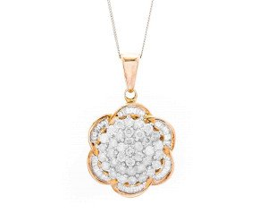 Pre-Owned 9ct Gold Diamond Floral Cluster Pendant