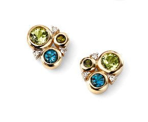9ct Peridot, Tourmaline, London Blue Topaz & Diamond Earrings