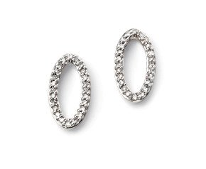 9ct White Gold Elliptical Diamond Stud Earrings