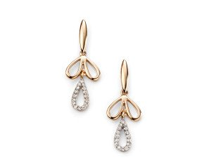 9ct Gold & Diamond Floral Drop Earrings