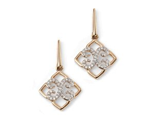 9ct Gold & Diamond Lace Drop Earrings