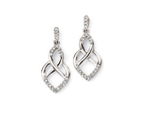 9ct White Gold & Diamond Celtic Style Drop Earrings