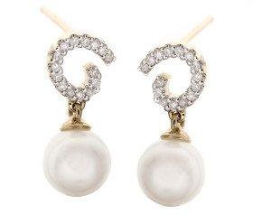 9ct Gold Pearl & Diamond Drop Earrings
