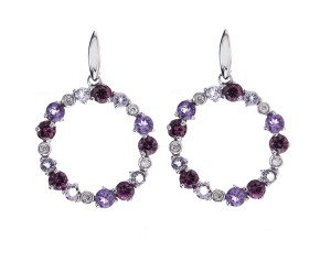 9ct White Gold Diamond Amethyst & Garnet Drop Earrings