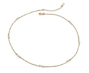 9ct Gold & Pearl Station Necklace