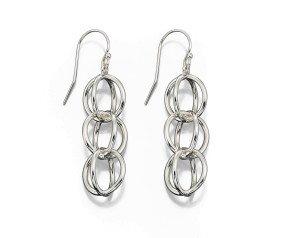 Sterling Silver Geometric Sphere Drop Earrings