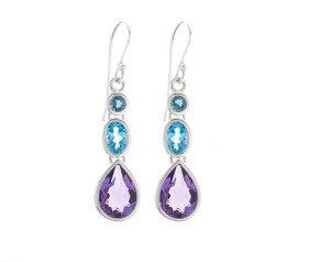 Amethyst, Swiss Topaz & London Blue Topaz Drop Earrings