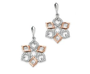 Sterling Silver, Rose Gold Vermeil and Cubic Zirconia Flower Drop Earring