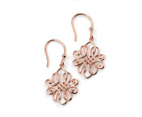 Sterling Silver & Rose Gold Vermeil Filigree Drop Earrings