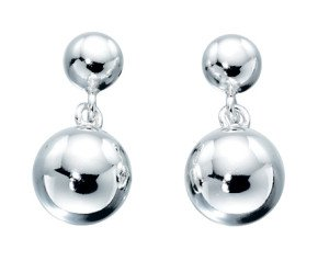 Sterling Silver Sphere Drop Earrings