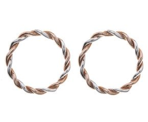 Sterling Silver & Rose Gold Plated Circular Twist Earrings