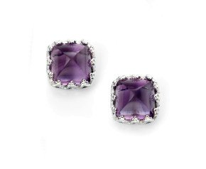 Sterling Silver Cabochon Amethyst Stud Earrings