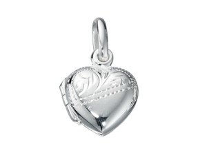 Sterling Silver Engraved Small Heart Locket