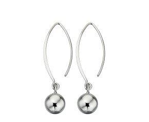 Sterling Silver Sphere Drop Hook Earrings