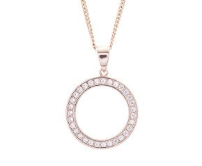 Sterling Silver & Rose Gold Plate Cubic Zirconia Circle Pendant
