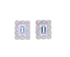 Pre-Owned 9ct White Gold Aquamarine & Diamond Earrings
