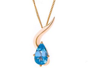 9ct Gold Topaz Wave Pendant