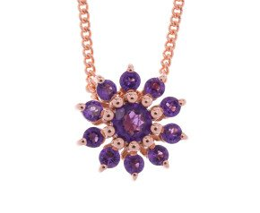 9ct Rose Gold Rose & Purple Amethyst Cluster Pendant