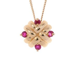 9ct Gold Ruby Woven Pendant